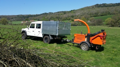 Defender 130 and chipper