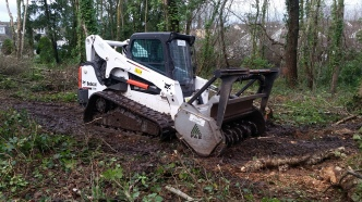 Forest mulching work with a tracked bobcat