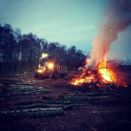 Collecting brash with the tractor, to be burned on bonfires. Timber extracted for firewood.